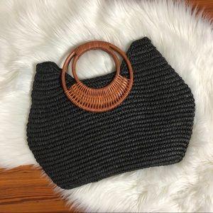 Vintage wood & raffia handbag